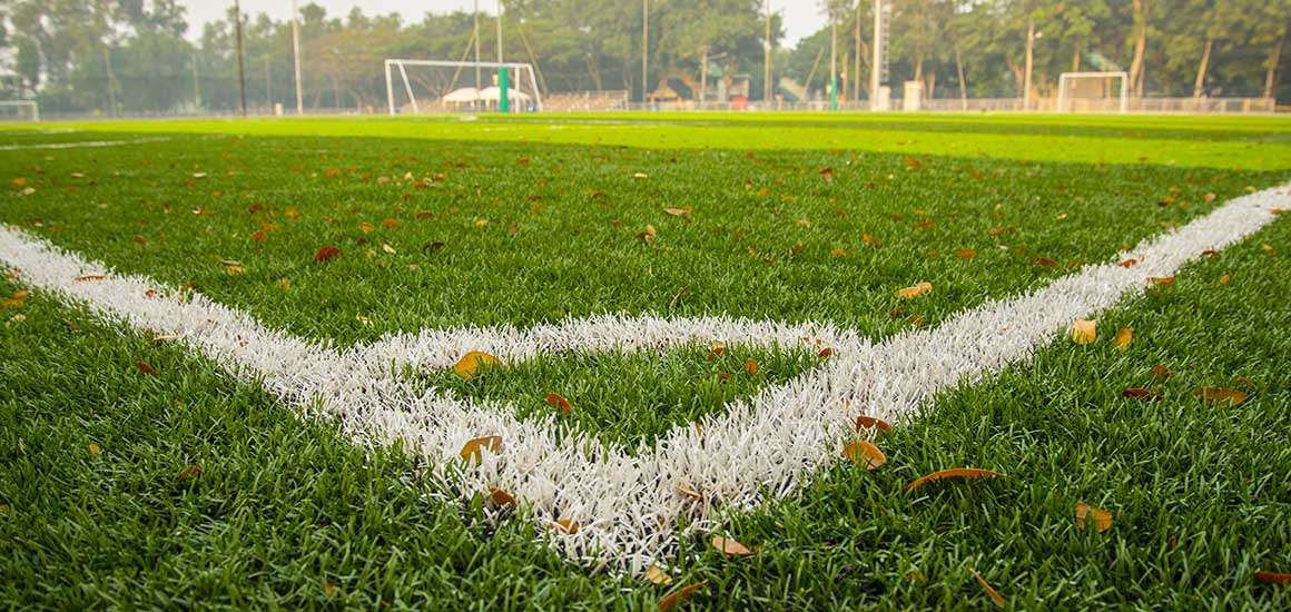 Soccer Field with white line